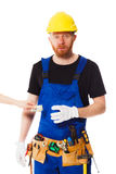 Man builder with set of construction tools Stock Photo