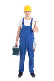 Man in builder uniform and helmet with toolbox and hammer isolat Stock Photo