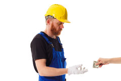 Man builder in the uniform, isolated Royalty Free Stock Images