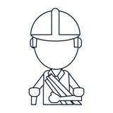 Man building construction plans helmet thin line Royalty Free Stock Photos