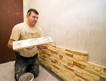 Man building internal wall Stock Image