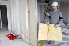 Man building partition Stock Photo