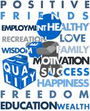 Man Building Quality of Life Illustration Poster Stock Images