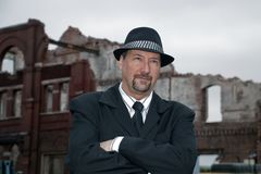 Man with building ruins Royalty Free Stock Photography