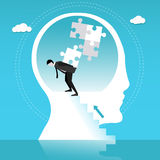 Man builds puzzle in human head. Concept vector illustration Royalty Free Stock Photos
