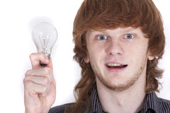 Man with bulb Royalty Free Stock Image