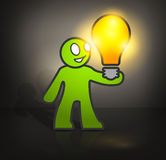 Man with bulb Stock Images