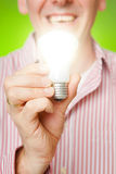 Man with bulb Stock Photos