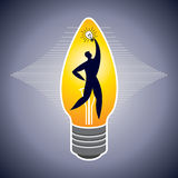 Man in bulb with idea. Illustration of man surround with idea bulbs Stock Photos