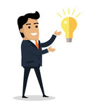 Man with Bulb Lamp Isolated. Boy Find Solution. Man with bulb lamp isolated. Happy boy find solution for problem. Successful idea banner. Satisfied male with Stock Photos