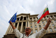 Man with Bulgarian and EU flags Royalty Free Stock Images
