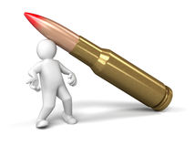 Man and Bullet (clipping path included) Stock Photo
