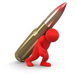Man and Bullet (clipping path included) Stock Photos