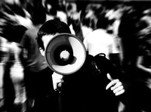 Man with bullhorn stock images