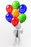 Man with a bunch of balloons. With words related to new technologies Stock Photo