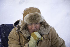 Man bundled up in sub zero winter weather Royalty Free Stock Image