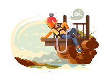 Man bungee jumping. Young man with camera on helmet prepares to jump bungee. Vector illustration Stock Photo