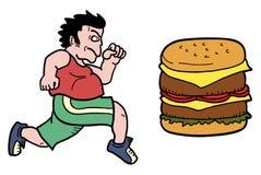 Man and burger Stock Photos