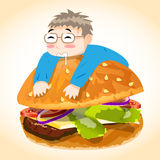 Man on Burger Vector Character Royalty Free Stock Photography
