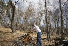Man buring brush Stock Photo