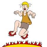 Man Burning Feet on Hot Surface Stock Photos
