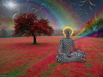 Man with burning halo. Meditates in lotus pose. Endless dimensions in the sky above surreal landscape. 3D rendering