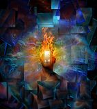Burning mind. Man with burning head in cosmic space. Human elements were created with 3D software and are not from any actual human likenesses Royalty Free Stock Image