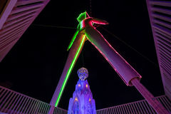 The Man at Burning Man 2015 from Underneath Him Looking Up. A night time shot of the Man at Burning Man 2015 right underneath him royalty free stock photography