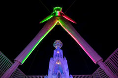 The Man at Burning Man 2015 from Underneath Him Looking Up. A night time shot of the Man at Burning Man 2015 right underneath him Royalty Free Stock Image