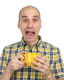 Man burnt cup of tea Stock Images
