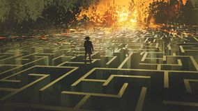 The man in a burnt labyrinth land. Destroyed maze concept showing the man standing in a burnt labyrinth land, digital art style, illustration painting stock illustration