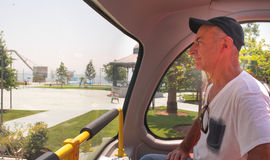 Man in bus touristique. stock images
