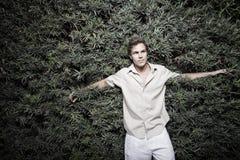 Man and a bush Royalty Free Stock Photos