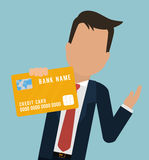 Man business bank card hold Stock Photography
