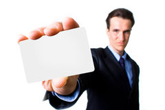 Man with business card Royalty Free Stock Photos