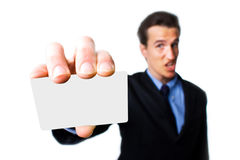 Man with business card Royalty Free Stock Image