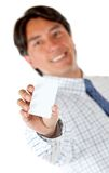 Man with a business card Stock Image