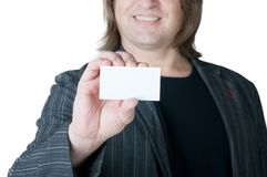 Man and business card Royalty Free Stock Photo
