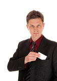 Man with business card. Royalty Free Stock Photos