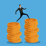 Man business on coin money pile. Vector illustration eps 10 Stock Photos