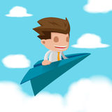 Man Business Fly Paper Plane Stock Photo