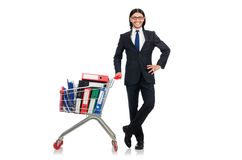 Man with business folders isolated Royalty Free Stock Photo