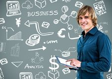 Man with Business graphics drawings Royalty Free Stock Photo