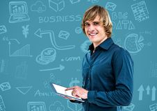 Man with Business graphics drawings Stock Photography