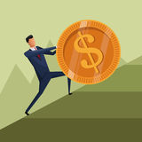 Man business growth coin climb work. Vector illustration Stock Image