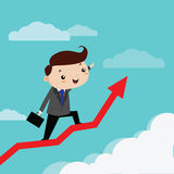 Man business happiness to grow up arrow graph Royalty Free Stock Image