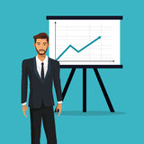 Man business office presentation financial graph. Vector illustration eps 10 Royalty Free Stock Photos
