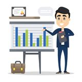 Man with business presentation. Man with business presentation showing data and graph Stock Photography