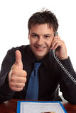 Man business satisfaction guaranteed Royalty Free Stock Photography