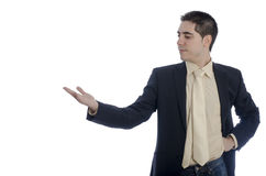 Man in business showing something with his right hand . Royalty Free Stock Images